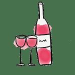 dessin bouteille et verres