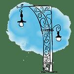 dessin réverbère barcelone