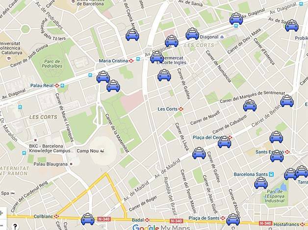 Barça taxi stations camp nou