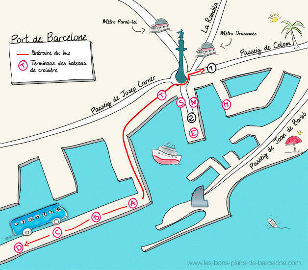 plan-port-barcelone bateau de croisière