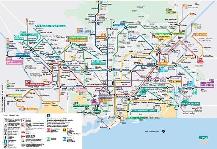 plan de metro de Barcelone