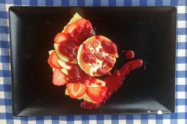blue bar de plage salade de fruits