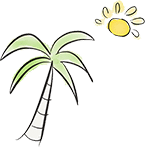 dessin palmier soleil