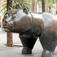 art public sculpture: el gato de Botero (le chat) Rambla del raval