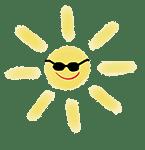dessin d'un soleil avec des lunettes noires
