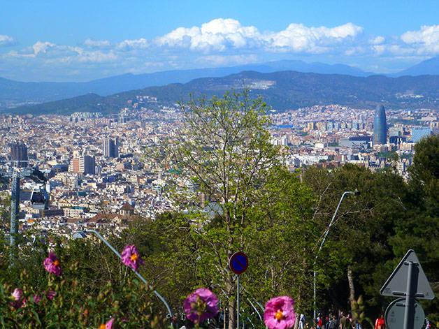 montjuic: sport et nature vue sur Barcelone