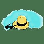 dessin chapeau et lunettes de soleil