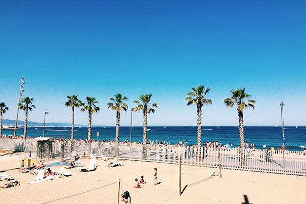 chaleur à Barcelone: bord de mer