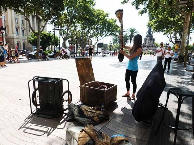 statues vivante installation du matériel