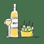 dessin tapas et bouteille de vin