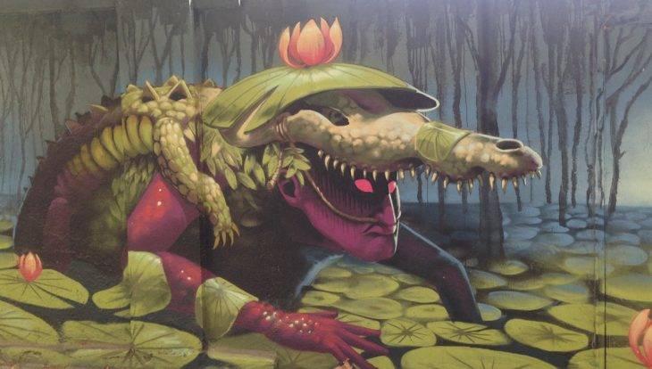 visite guidée street art à vélo, graffiti de crocodile
