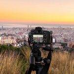 Barcelone panorama vu à travers un appareil reflex