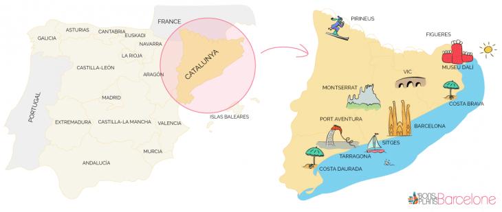 Carte dessinée de Catalogne et Espagne